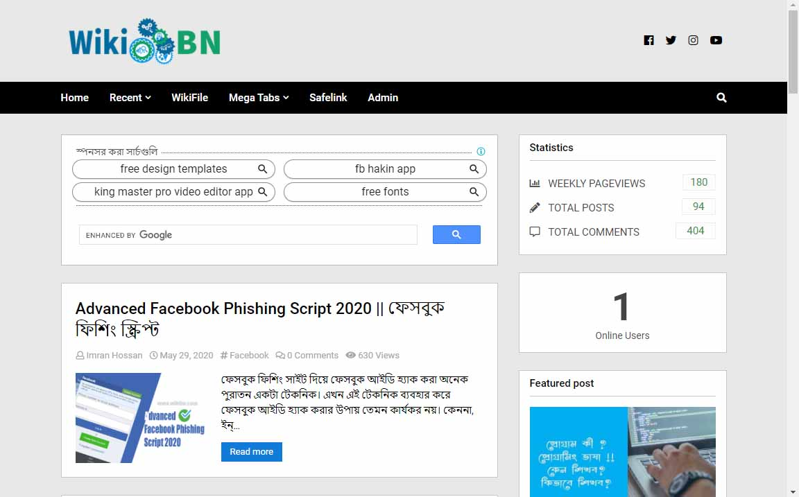 WikiBN Old Blogger Template Demo